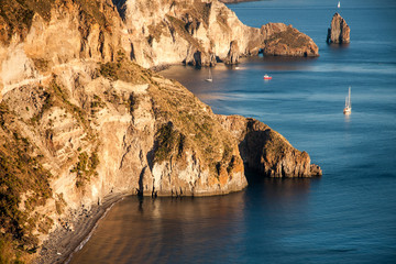beautiful coast of the island of Lipari, Italy