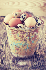 chicken and quail eggs ( vintage style )