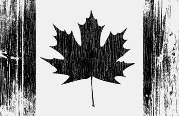 Canadian Flag On A Wood