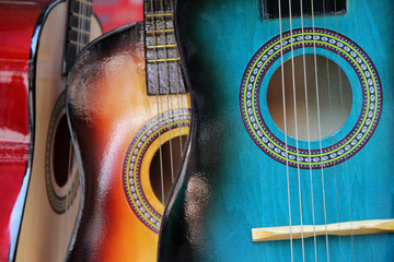 Colorful guitars on the market