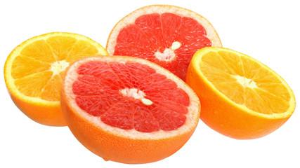 Sliesed grapefruit and tangerine