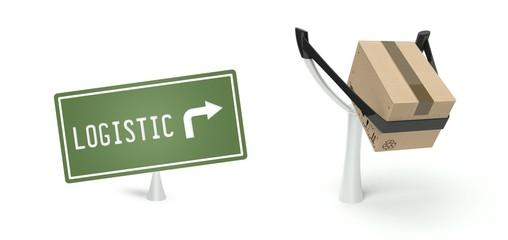 Logistic concept cardboard box on slingshot