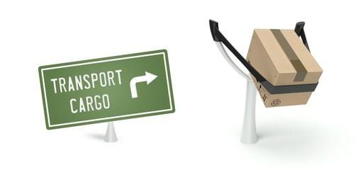 Transport cargo concept cardboard box on slingshot