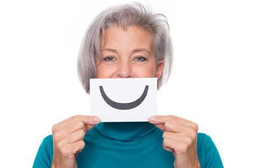 Senior with smiley symbol
