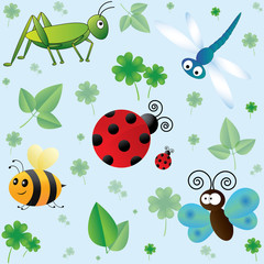 Seamless pattern with cute insects and leaves