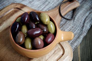 Olives in ceramic bowl