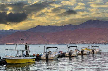 Water sport motorboats at central beach of Eilat, Israel