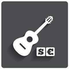 Paid music icon. Acoustic guitar music symbol.