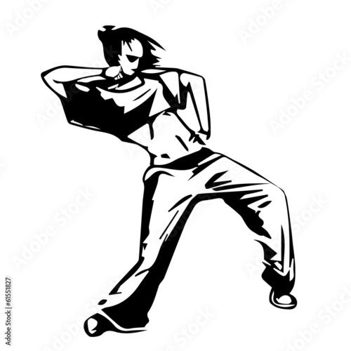 Sketch Vector Illustration Girl Hip Hop Street Dancer Stock Image