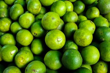 fresh green lemon sour in the thai market
