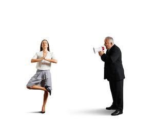 boss screaming at meditation young woman
