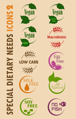 Special Dietary Needs / Food Allergy Icons