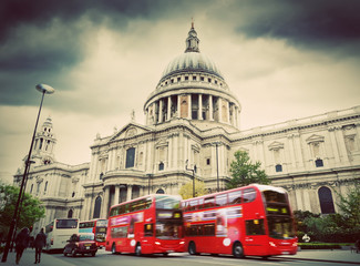 Printed roller blinds London red bus St Paul's Cathedral in London, the UK. Red buses, vintage style.