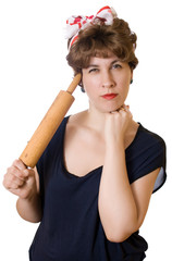 Woman with a rolling pin