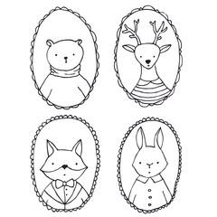 Animals portraits - vector outlines illustration