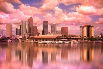 Tampa Florida skyline during colorful sunset
