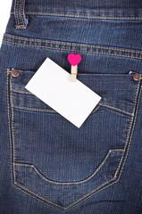 Sticker in pocket jeans