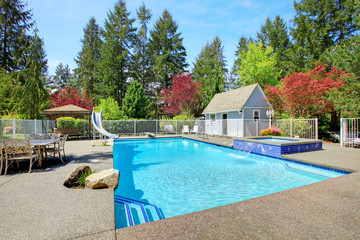 View of backyard with swimming pool