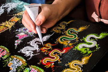 Paint dragon Thai pattern