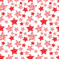 seamless red star pattern vector