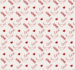 Heart and love seamless pattern in vector