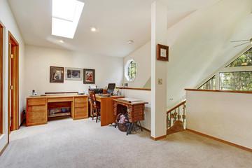 Upstairs office room. Open wall design idea