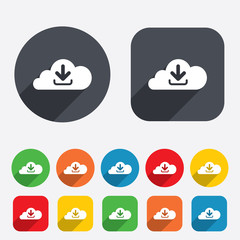 Download from cloud icon. Upload button.