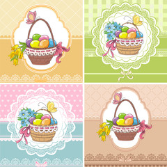 Set easter vintage cards. Basket with eggs and flowers