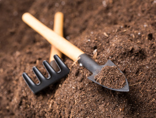 Rake and shovel  on soil with copy space