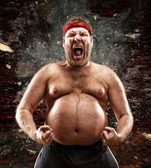 Furious man screams against blow