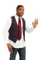 black man isolated on white background
