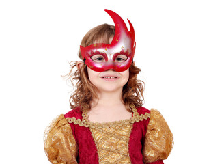 little girl theater actress with mask