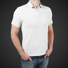 man in white polo t-shirt