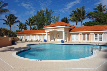 Inviting upscale swimming pool and cabana