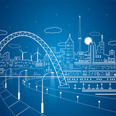 Vector lines city, road under the bridge, vector lights town