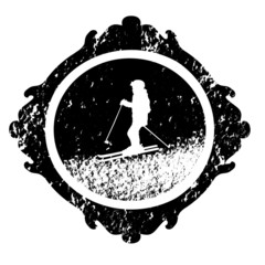 Vector ski winter stamp