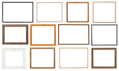set wooden picture frame with cut out canvas
