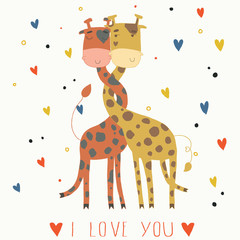 Illustration of giraffes in love. Card for Valentine's Day.