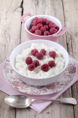 rice pudding with fresh raspberry