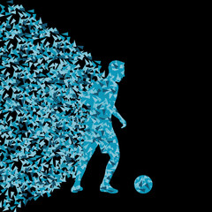 Soccer player winner vector background concept isolated on black