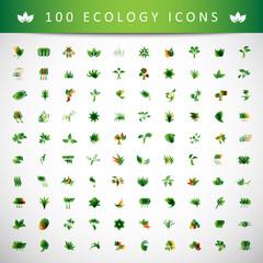 Ecology Icons Set - Isolated On Gray Background
