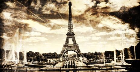 Aged vintage retro picture of Tour Eiffel in PAris