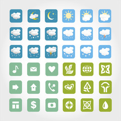 Vector weather icons set. Bio and life icons set