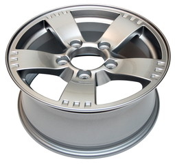 An isolated modern aluminum alloy wheel on a white background