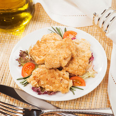 Fresh chicken cutlets with vegetables