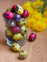 Easter card : eggs with flowers - holiday box with dandelions