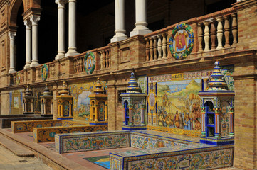 Spain square in Seville, architectural detail in Andalusia