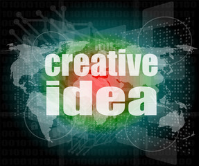 creative idea words on digital screen. business concept