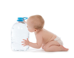 Infant child baby girl sitting with big bottle of drinking water