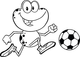 Black And White Cute Frog Character Playing With Soccer Ball